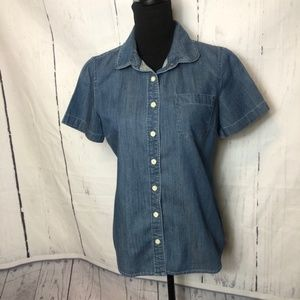 J. Crew Factory Blouse Size Small Blue Chambray